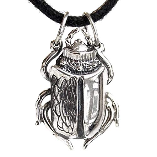 Egyptian Scarab Beetle Pendant Necklace Handcrafted Sterling Silver Good Luck Wealth Amulet Talisman Realistic Detailed Insect Jewelry Ancient Egypt Gifts for Men Women ()