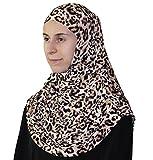 Firdevs Islamic Practical Two-piece Amira Hijab Scarf High Quality Muslim Easy Instant Ready-to-Wear Headscarf Leopard Beige