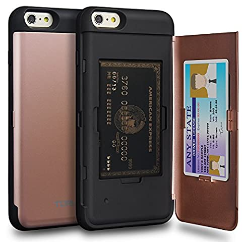 iPhone 6S Plus Case, TORU [iPhone 6S Plus Wallet Case Rose Gold] Protective Slim Fit Dual Layer Hidden Credit Card Holder ID Slot Card Case with Mirror for iPhone 6S Plus / iPhone 6 Plus - Rose (Iphone6 Plus Case Card Holder)