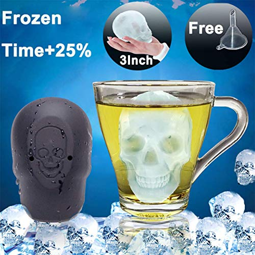 - 3D Big Skull Flexible Silicone Ice Mold Cube for Whiskey Drinks Juice Safe and Large Ice Frozen Time Up 25% limited Temperature -40°C to 250°C Used for Ice Cream Cakes Biscuits Puddings Chocolates
