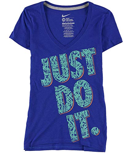 Nike Womens Just Do It Graphic T-Shirt, Blue, X-Small ()