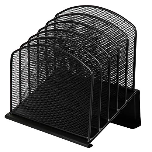 (DESIGNA Office Wire Mesh 5 Section Incline Sorter, Magazine File Organizer, Commercial Grade, Black)