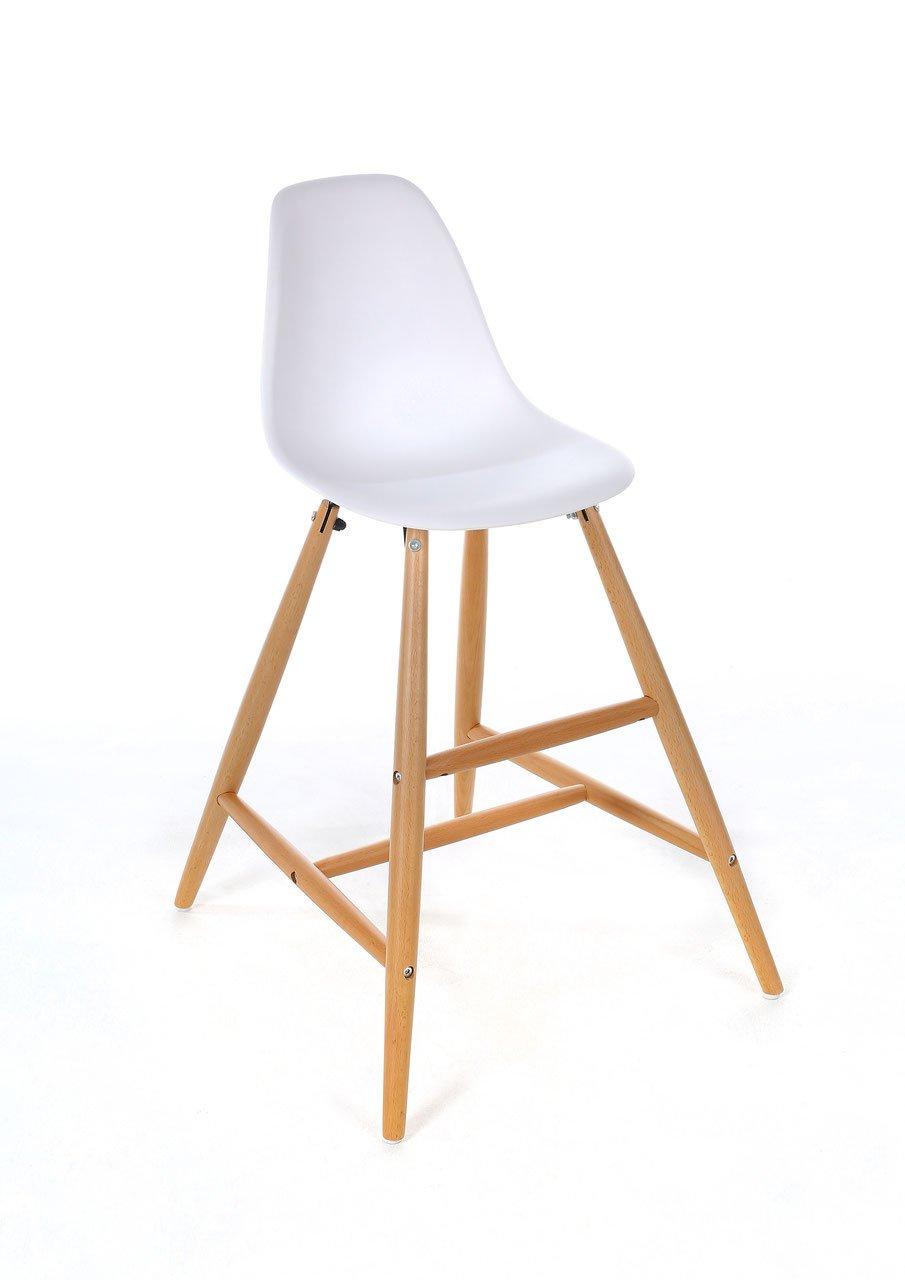 Hoher Kinderstuhl für die richtige Höhe am Esstisch, Hochstuhl, ergonomisch, modernes Design, weiß, Massivholz Buche, stabil, pflegeleicht, ab 3 Jahren