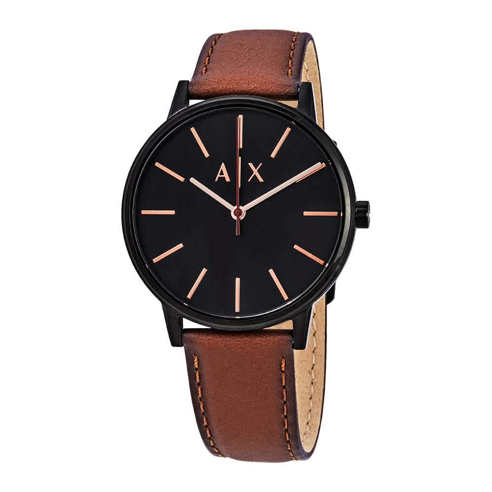 Armani Exchange Men's Cayde Stainless Steel Analog-Quartz Watch with Leather Strap, Brown, 20 (Model: AX2706)