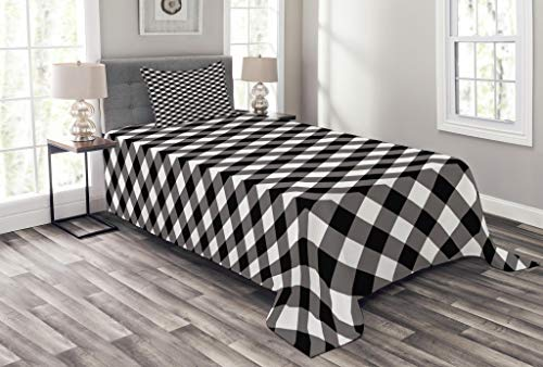 Lunarable Abstract Bedspread Set Twin Size, Vintage Gingham Pattern Grid Tartan Nostalgic Lines Large Stripes Artsy Image, Decorative Quilted 2 Piece Coverlet Set Pillow Sham, Black White