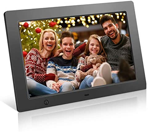 ZTSWKJ Digital Picture Frame 10 inch Full HD Display Photo 180 View Angle,Digital Photo Frame Support Background Music USB SD Slot Calendar Alarm Smart Electronic Picture Frame Motion Sensor Black