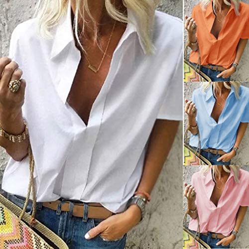 Eaktool Womens Tops,Women Fashion Casual Short Sleeved Loose Pure Color Deep V Neck Summer Shirts