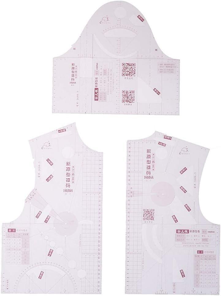 YH Medida de Regla de Costura métrica de Curva Francesa de plástico de 3 Piezas para confección Sastre de clasificación de Patrones