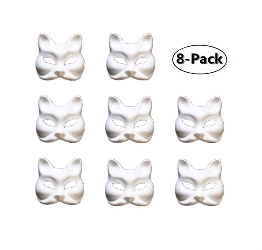 Ru S White Masks, DIY Unpainted Masquerade Masks/Pack of 8 (Color-2)