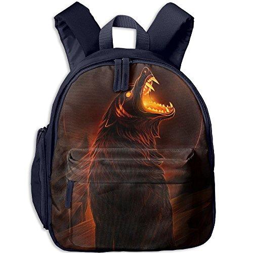 Mini School Bookbag Custom Made With Lunar Eclipse Wolf For Kindergarten Unisex Children - Street Angeles Los Oxford