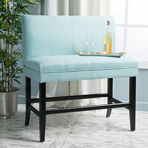 Christopher Knight Home 299994 Elisse Light Blue Fabric Barstool Bench,
