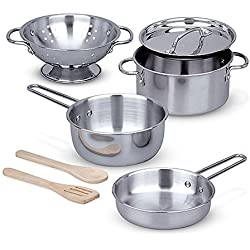 Melissa & Doug Stainless Steel Pots and Pans Pretend Play Kitchen Set for Kids (8 pcs)