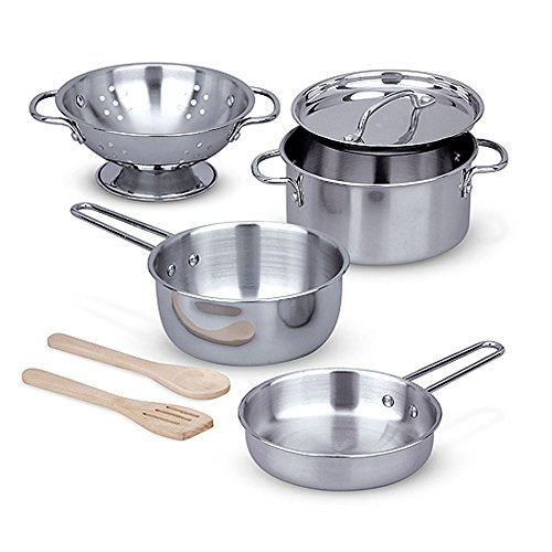 Melissa & Doug Stainless Steel Pots and Pans Pretend Play Kitchen Set for Kids (8 pcs), Multicolor, ()