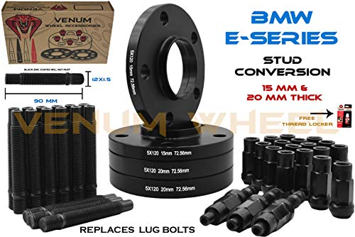 (2) 15mm + (2) 20mm Black Staggered Wheel Spacers + 12x1.5 Black Racing Stud Conversion Kit Compatible With E36 E46 E90 E92 E64 E23 E32 E38 E31 FREE Thread Locker included fits Aftermarket & OEM | Wor
