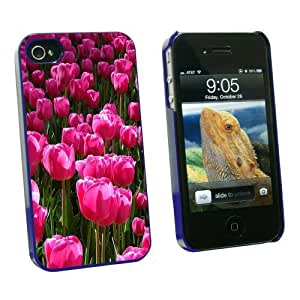 Graphics and More Field of Pink Tulips - Snap On Hard Protective Case for Apple iPhone 6 4.7 - Blue - Carrying Case - Non-Retail Packaging - Blue