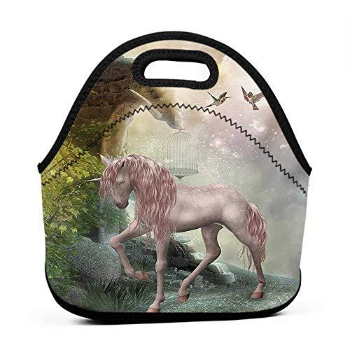 Neoprene Lunch Bag Hummingbirds,Unicorn Gold Color Leaves Birds Twinkling Stars Moon Mystic Fantasy Fairytale,Multicolor,name brand lunch bag for men]()