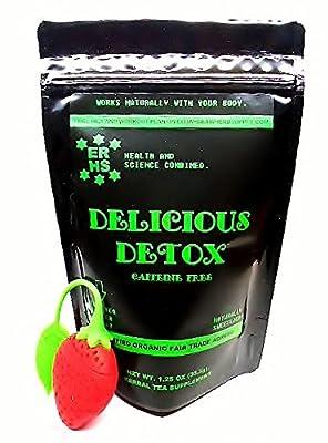 ERHS CAFFEINE FREE DETOX TEA: 100% Certified Organic, Diuretic, Detox, Cleanse, Reduce Bloating, Digestive Aid, Gas Relief, Caffeine Free w/ free tea infuser.
