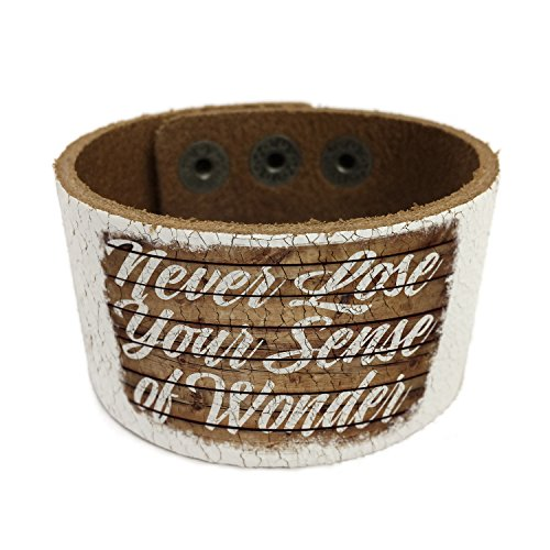 NEONBLOND Painted Wood Never Lose Your Sense of Wonder Leather Cuff unisex Women, Men's Bangle (Wonder Woman Cuff Bracelet)