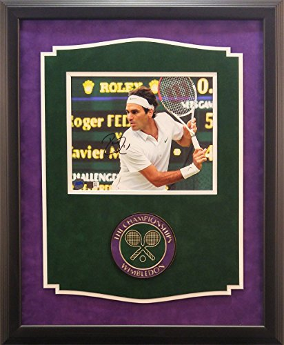 Roger Federer Framed Photo (Roger Federer Signed 8x10 Framed Photo with Wimbledon Logo)