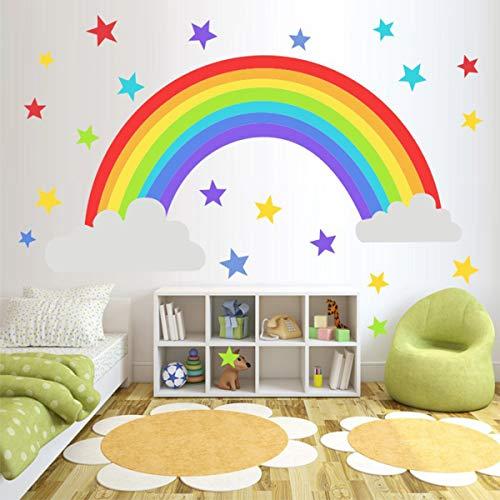 Bamsod Wall Sticker Rainbow Wall Decal Art Girls Star Bedroom Nursery Home Decor