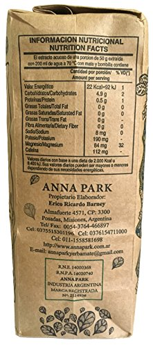 "Anna Park Yerba Mate - Organic - 1.1 LB / 500 g / 17.6 oz 5 A TRADITIONAL TEA: Yerba Mate has been used for centuries in South America as a natural stimulant to support mental clarity and focus. Described as offering ""the strength of coffee, benefits of tea, and the euphoria of chocolate"". Anna Park Yerba Mate is a powerful and all natural, appetite curbing tea that provides energy, improves digestion and boosts your immune system. HIGHEST QUALITY AND PURITY: Our Yerba Mate is certified 100% organic, naturally gluten free and vegan without any artificial flavors or colors. Sustainably farmed, sourced from Argentina and naturally caffeinated. This exquisite Yerba Mate is produced over 3 years, protecting ecological reserve and environment. VITAMIN & MINERALS PACKED: Anna Park Yerba Mate is rich in vitamins A, C, E, B1, B2, B3, B5, and B Complex. Also contains Calcium, Manganese, Iron, Selenium, Potassium, Magnesium, Silicon, Phosphorus. 15 Amino Acids, Fatty Acids, Chlorophyll, Flavonoids, Polyphenols, and traces minerals."