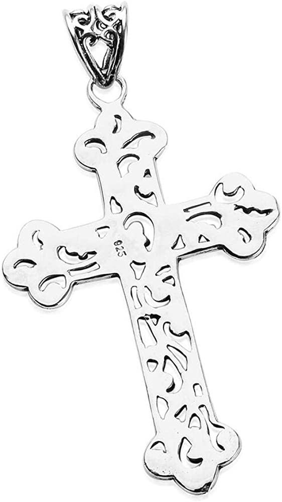 TJC 925 Sterling Silver Cross Pendant Artisan Crafted for Women and Girls