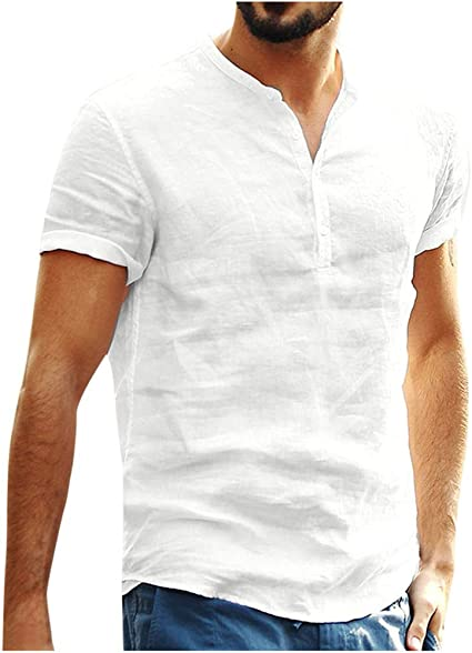 Amazon.com : Lataw Men's Shirts Baggy Summer Cotton Blend Solid Color Short  Sleeve Retro T Shirts Tops Blouse Casual Soft Tunic : Sports & Outdoors