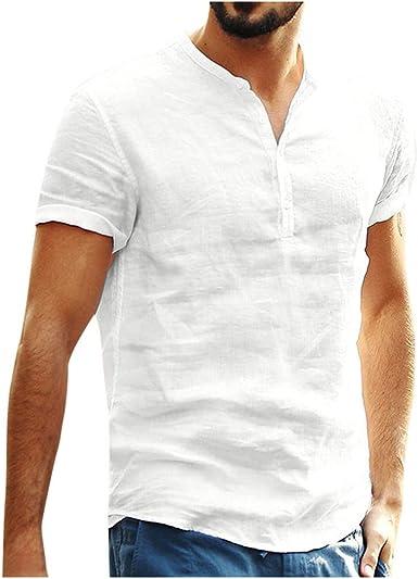 Men/'s Standing Collar Tee Tops Stripe Casual Cotton Linen Cardigan T-shirt