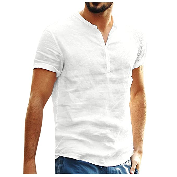 Amazon.com: Hombres Henry manga corta Slim Solid Camisas de ...