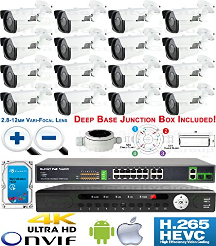 USG Motorized Lens 4MP 16 Camera Security System H.265 Ultra 4K PoE IP CCTV Kit : 16x 4MP 2.8-12mm 5MP Bullet Camera + 1x 36 Channel 8MP NVR + 1x 10 Port PoE Network Switch + 1x 4TB : Business Grade by Urban Security Group