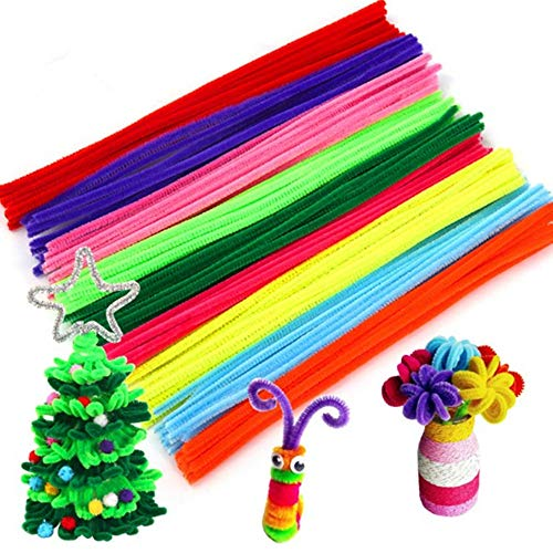 JSDOIN 100 Pcs Assorted Colors Pipe Cleaners DIY Art Craft Decorations Chenille Stems (6 mm x 12 Inch) (Pipe -