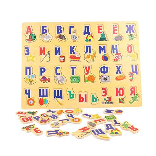 - 3D Puzzle Wood - Wooden Puzzle Russian Letter Learning Board Child Alphabet Watch Grabs Early Learning Russian Alphabet Cognitive 3D Puzzle, A1082