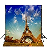 8X10ft Studio Background for Studio Props Blue Sky Grass Eiffel Tower without Wrinkle Thicker