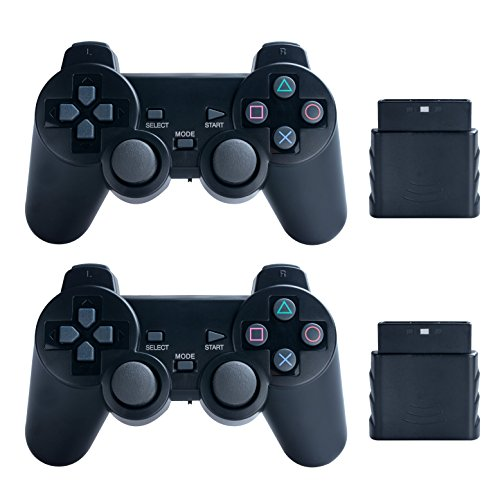 Saloke 2 Packs Wireless Gaming Controllers for Ps2 Double Shock (Black and (Playstation 2 Wireless Controller)