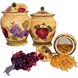 CANISTER SET,3PC CANISTER TUSCANY WINE GRAPE FRUITS