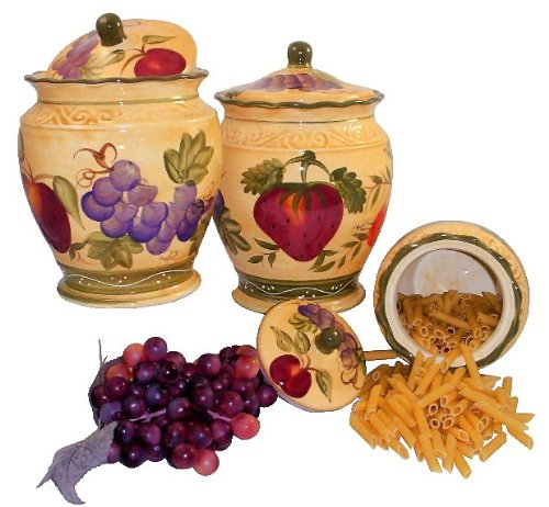 Vero Italian Kitchen: CANISTER SET3PC CANISTER TUSCANY WINE GRAPE FRUITS