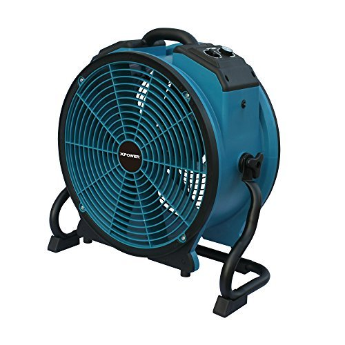 XPOWER X-41ATR 1/3 HP 3600 CFM Variable Speed Axial Air Mover with 3-Hour Timer and Dual Outlets for Daisy Chain, 2.4-Amp at Max (3 Speed Dual Blowers)