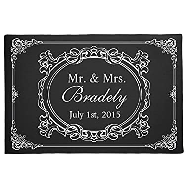 Custom Mr Mrs Wedding Art Deco Frame Generic Machine Washable Rubber Non-Slip Outdoor/Indoor Doormat 23.6 x15.7