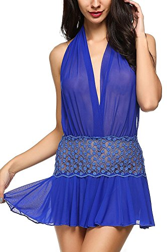 Raycoon Comfortable Women Lingeries Backless Babydoll Outfits Halter Meshightwear Blue L
