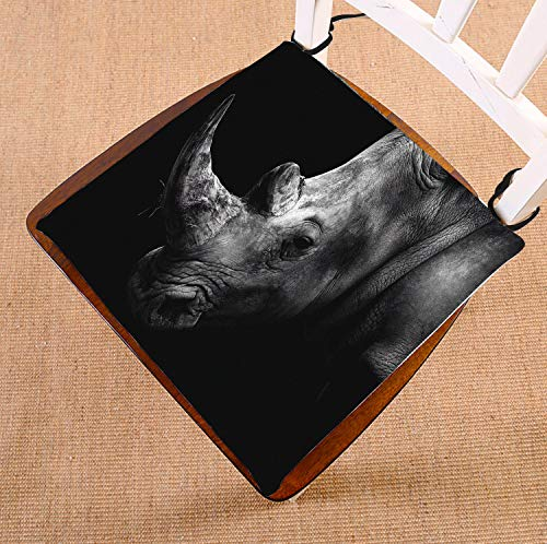 HandsToMeB Animal Chair Pad, Rhino Black and White Seat Cushion Chair Cushion Floor Cushion Two Sides Size 18x18 inches by HandsToMeB