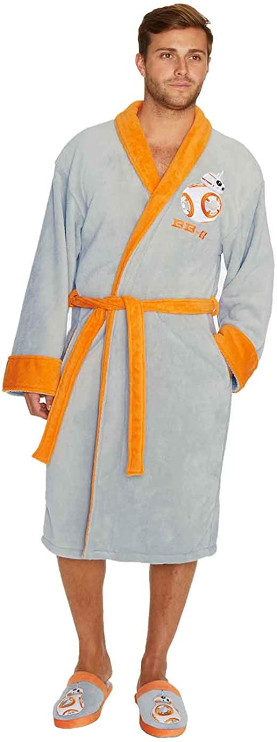 Star Wars Officially Licensed Men's BB-8 Adult Embroidered Fleece Bathrobe Gown Grey