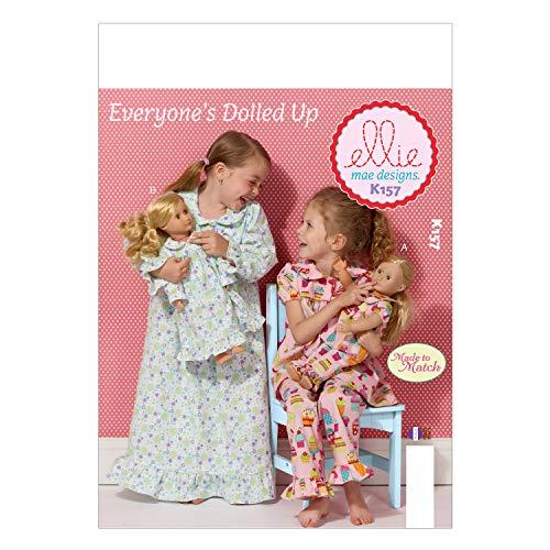 KWIK-SEW PATTERNS K0157OSZ Girls'/18-Inch Doll's Loungewear Sewing Template (Doll Patterns Sew)