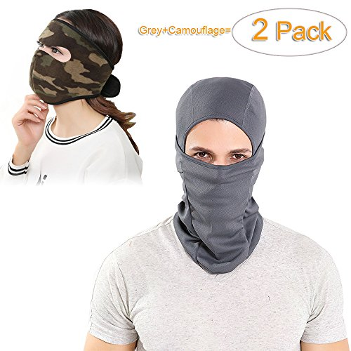 Price comparison product image Luckyandery Keep Warmer Windproof Balaclava Ski Mask for Cycling, Skiing, Motorcycling, Winter Comfort Full Face Mask Gear Against Cold,Wind,Rain,Dust,Sun 2 Pack(Grey+Camouflage)