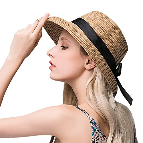 kekolin New Womens Foldable Summer Sun Beach Straw Hats accessories 2d7a75a0cfcb