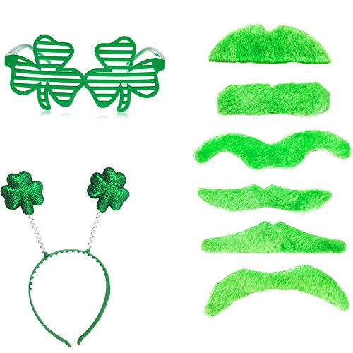 St. Patrick's Day Accessories Set - 2 x Lucky Shamrock Slotted Glasses & 6 x Fake Green Beard & 6 x Green Shamrock Head Boppers - Glasses Cute Really