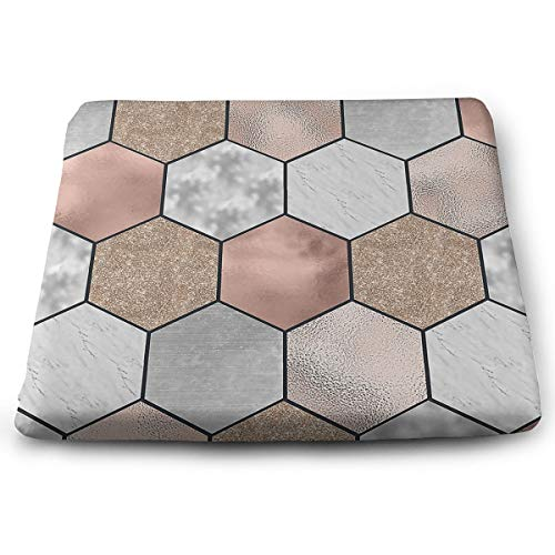 (O-X_X-O Rose Gold Marble Texture Geometry Chair Pads Polyester Chair Cushion Soft Comfortable Memory Foam Seat Pads Cushion for Office Home Or Car Sitting)