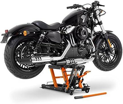 Caballete Elevador Tijera Moto Hidraulico ConStands Lift L negro-aranja para Harley Davidson Dyna Fat Bob (FXDF), Dyna Low Rider (FXDL/I), Dyna Street Bob (FXDB)