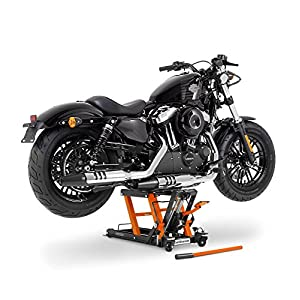 Cric Lève Moto pour Harley Davidson Dyna Street Bob (FXDB) Hydraulique á Ciseau ConStands Midlift L noir-orange