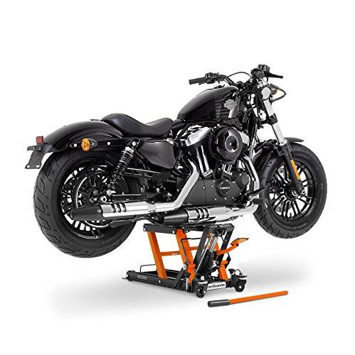 Bequille d'Atelier Cric Moto Hydraulique Lift ConStands L noir-orange Harley Davidson Fat Boy/Special (FLSTFB)/ (FLSTF), Heritage Softail Classic/Special (FLSTC)/(FLSTN), Heritage Springer (FLSTS)