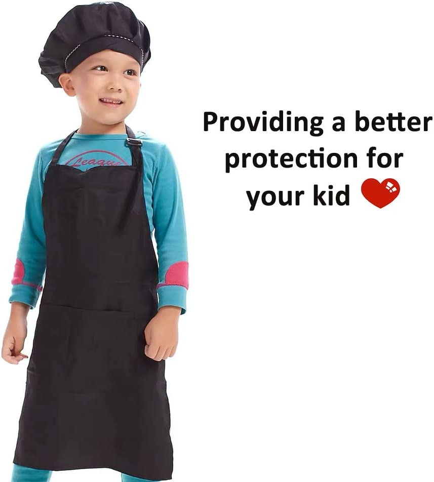Hi loyaya 6 Pack Adjustable Children Chef Apron Set for Cooking Baking Painting Art Red, S for Age 3-6 Kids Chef Hat and Apron with 2 Pocket